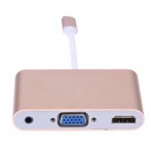 Преходник USB type C към HDMI VGI и 3.5mm аудио жак CA76