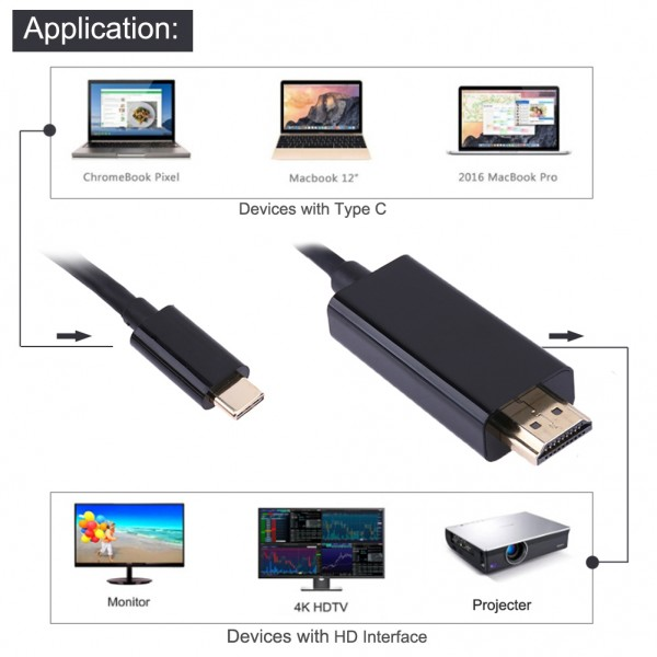 USB Type-C към HDMI кабел, 1,8m, Позлатен CA78 2