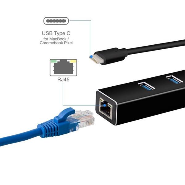Адаптер от USB Type-C към 3xUSB 3.0 и RJ45 конектор CA77 7