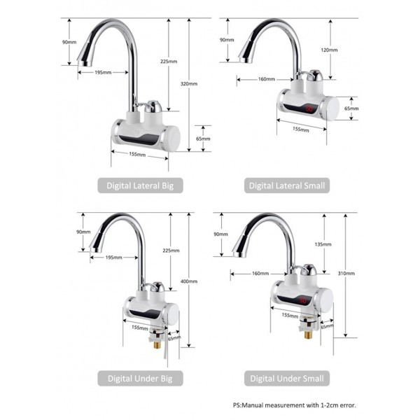 Смесител за вода с нагревател за мигновено загряване 3000W TV69 8