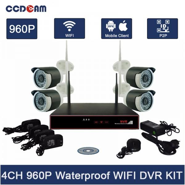 Комплект за видеонаблюдение, 4 канален WiFi NVR и 4 броя 1.3MP безжични IP камери