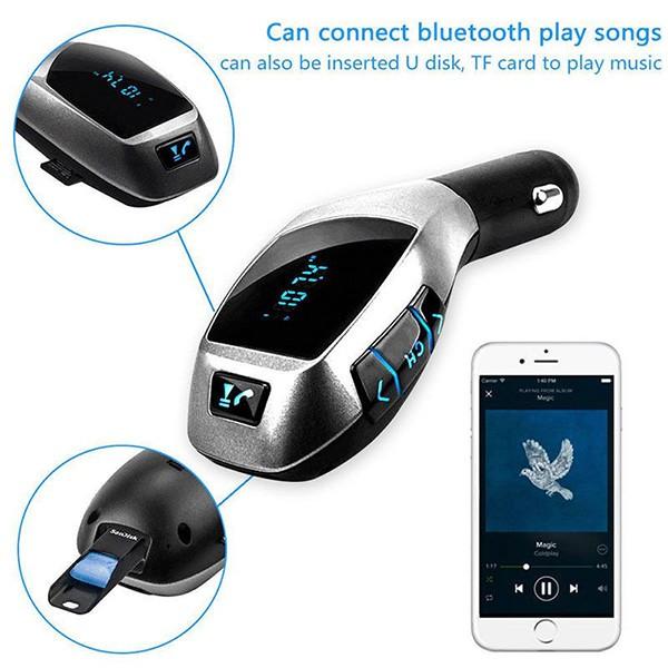 Bluetooth трансмитер за автомобил с LCD дисплей X5 HF8 11