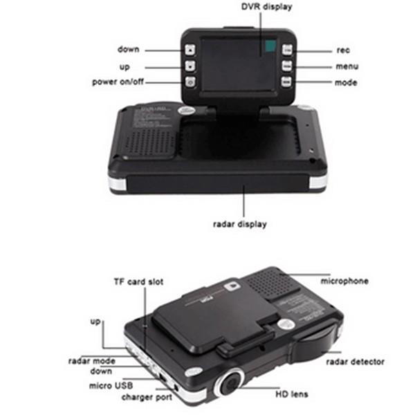 DVR видеорегистратор 2 в 1 с дисплей 2 инча камера и радар за скорост AC51 2