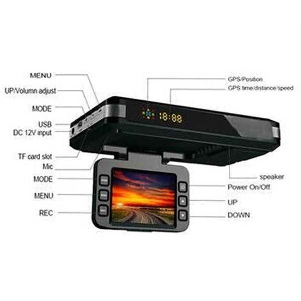 DVR видеорегистратор 2 в 1 с дисплей 2 инча камера и радар за скорост AC51 8