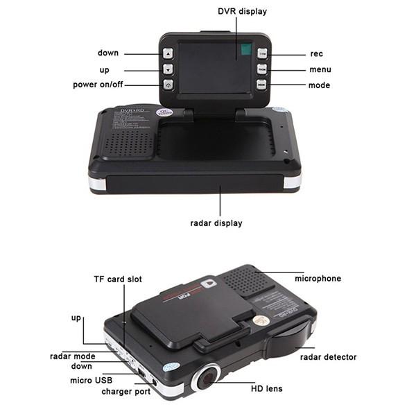 DVR видеорегистратор 2 в 1 с дисплей 2 инча камера и радар за скорост AC51 12