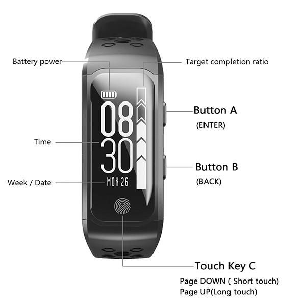 Водоустойчива смарт гривна S908 с крачкомер GPS измерване на сърдечен ритъм SMW18 7