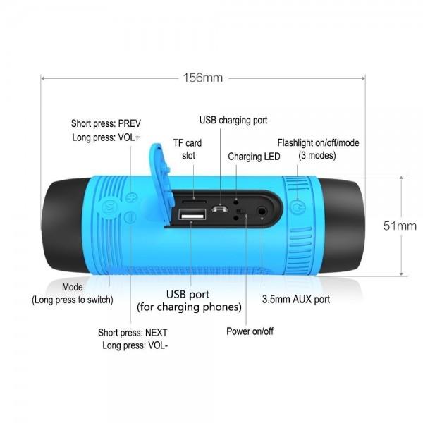 ZEALOT S1 Преносим водоустойчив Bluetooth високоговорител, фенер, Music Player 7