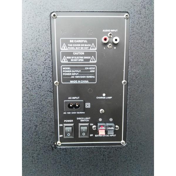 "Колона с двоен бас Avcrowns CH6210 2 x 10"" PA Speaker +Bluetooth +USB/SD/FM +LED 6"