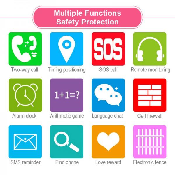 Водоустойчив GPS часовник -Детски -SOS повикване -Micro SIM за Andrioid и IOS,Y21 4