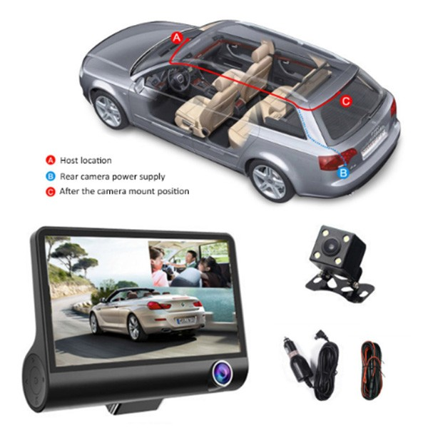 Видеорегистратор Full HD 1080P с 3 камери, дисплей 4 инча и нощен HDR запис AC50 9