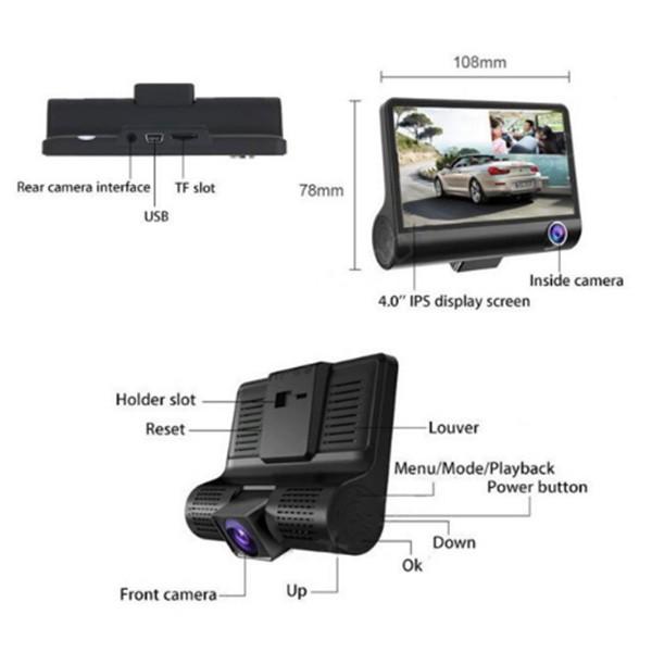 Видеорегистратор Full HD 1080P с 3 камери, дисплей 4 инча и нощен HDR запис AC50 10