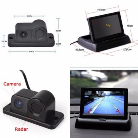 Камера за заден ход с радар и паркинг сензор, 4,3 инча монитор, нощно виждане PK5