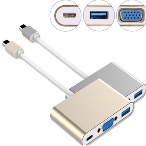 Мултифункционален адаптер - USB 3.1 Тип C към VGA с USB 3.0 зареждащ порт CA73