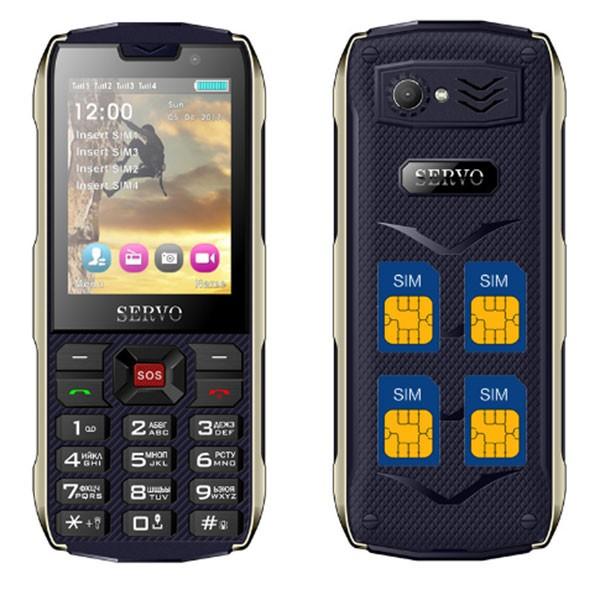 Прахоустойчив телефон за 4 сим карти Servo H8 с Bluetooth, Usb, камера 1