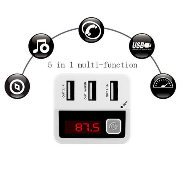 Зарядно с три USB 2.0 изхода радио плеър и хендсфрий за автомобил BC12 HF19 6