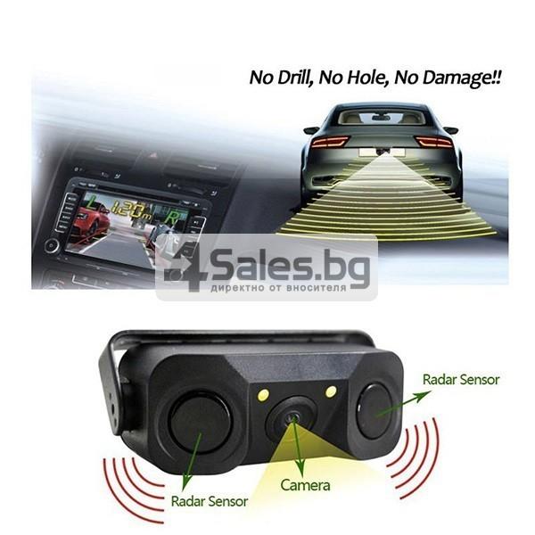 Камера за задно паркиране с датчици и алармен сензор PK KAM6 9