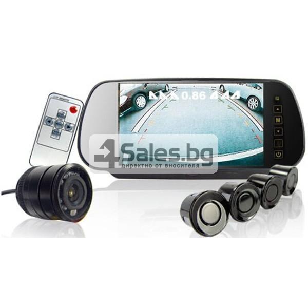 Огледален монитор за задно виждане с камера и 4 сензора