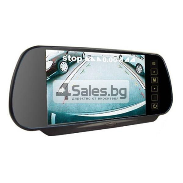 Огледален монитор за задно виждане с камера и 4 сензора 2