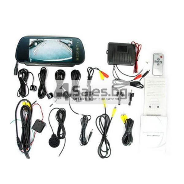 Огледален монитор за задно виждане с камера и 4 сензора 6