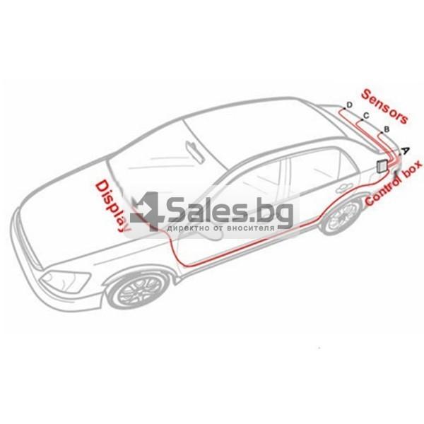Паркинг асистент с 4 сензора и LED дисплей PK8-B 6