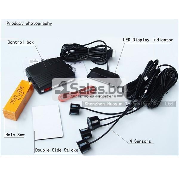 Универсален парктроник с четири сензора с обхват до 2.5 метра и LED индикатор 2