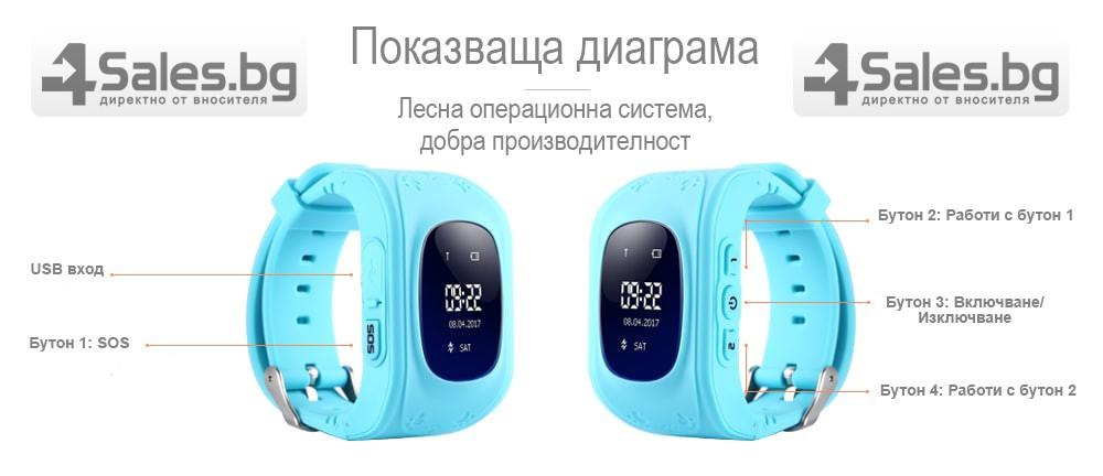 GPS часовник -телефон за деца - тракер за проследяване smart watch q50 10