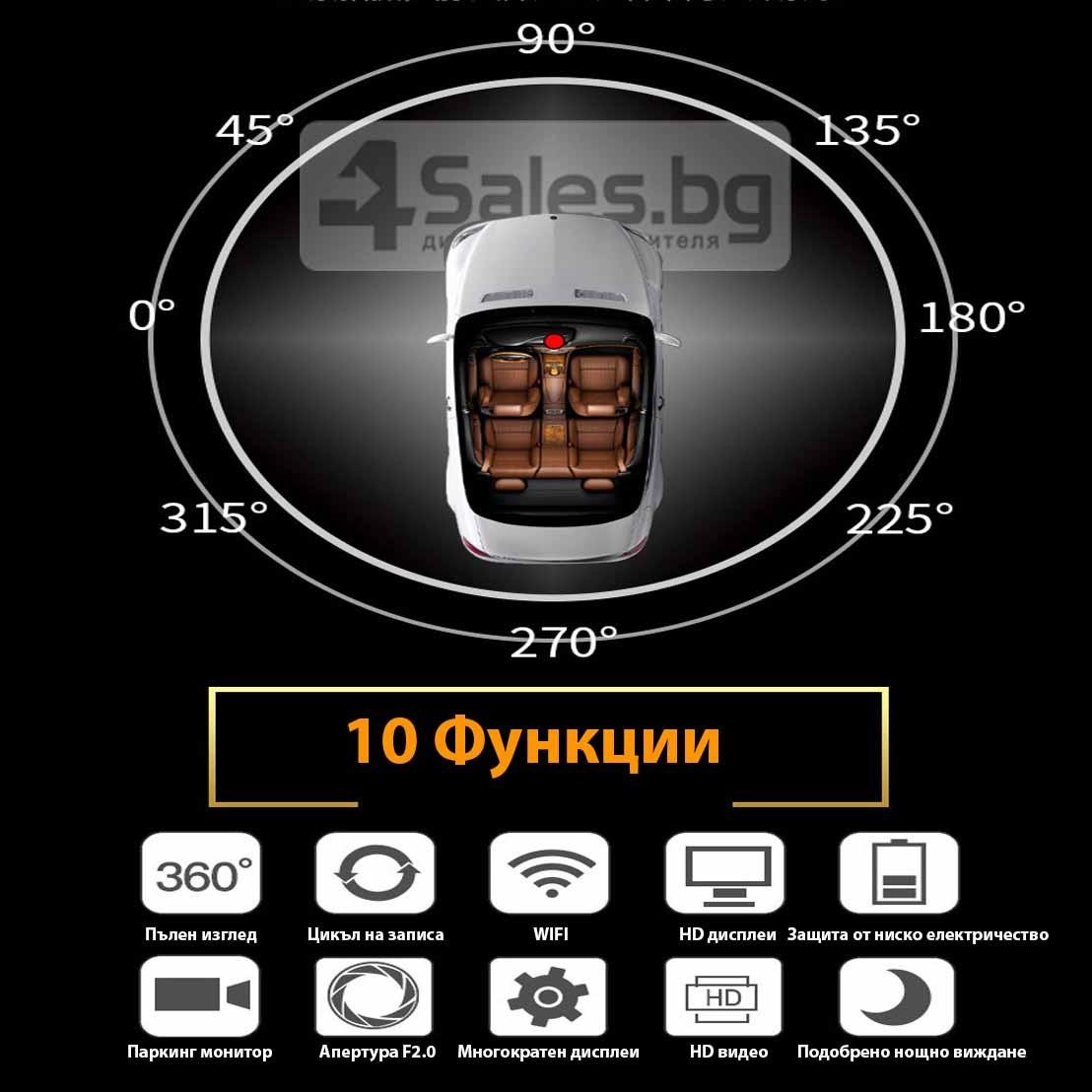 Камера за кола ОТ CAM с Wi Fi 360 градусово заснемане, паркинг и нощен запис AC56 2