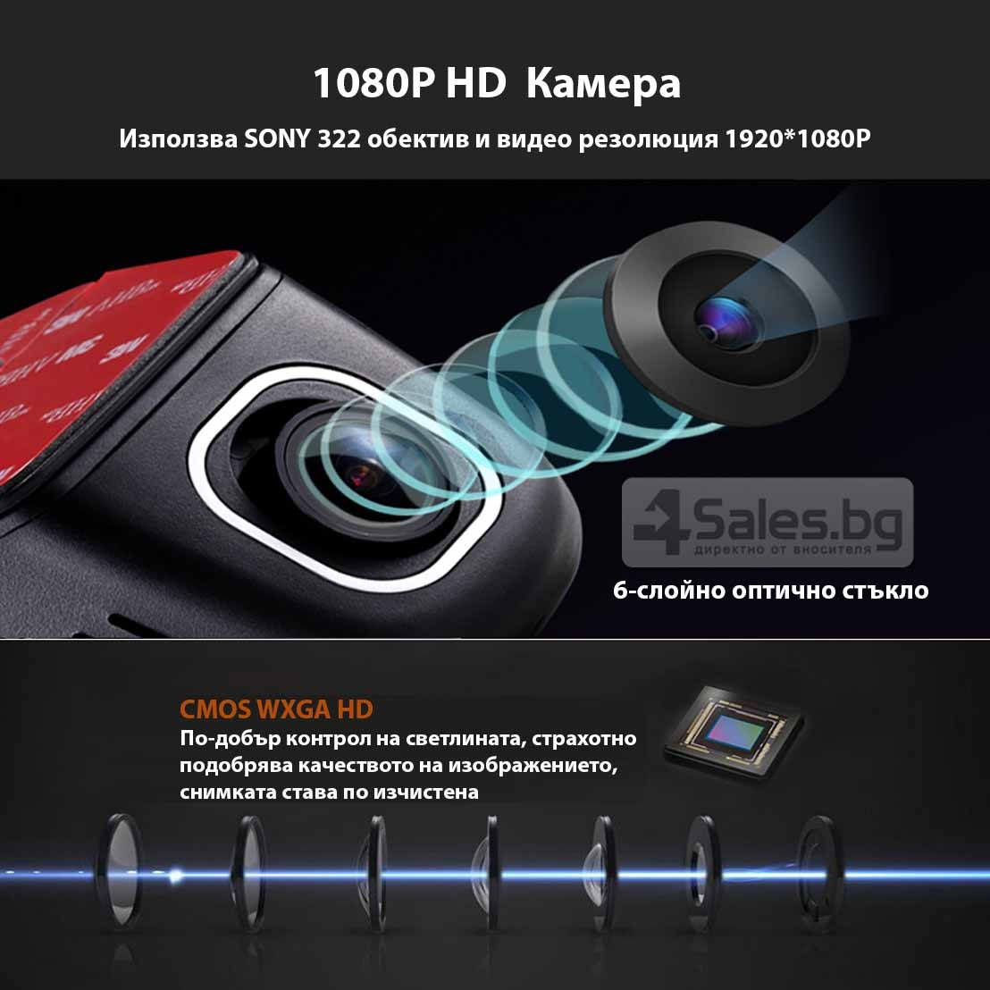 Видеорегистратор с две камери + WiFi и 1080p качество AC41 19