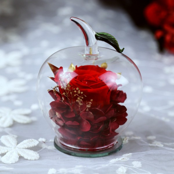 Вечна Роза в стъклена ябълка YSH F