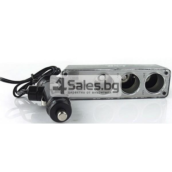 Троен разклонител за запалка за кола и USB CA99 5
