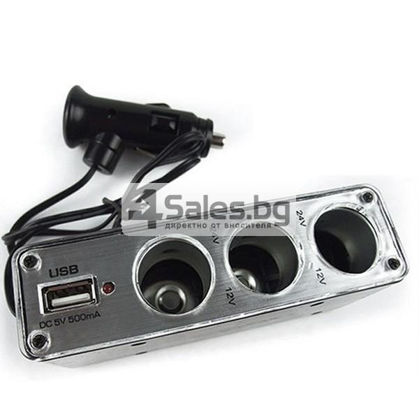 Троен разклонител за запалка за кола и USB CA99 8