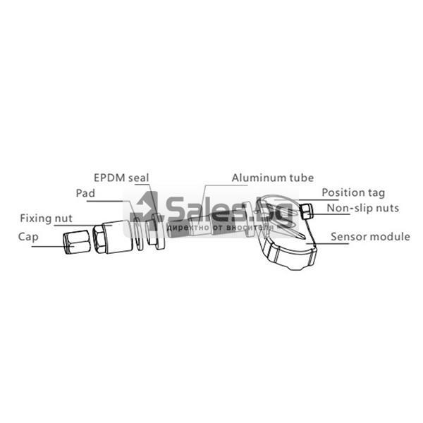 Датчик за налягане на гуми с монитор, сензор за отмерване и 4 вентила GUMI ALARM1 3