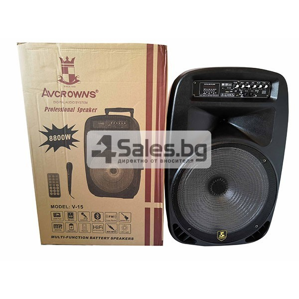 Тонколона Avcrowns V15 15 инча- два микрофона-Контрол отпред - Нов модел 13