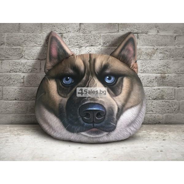 Плюшена възглавница с 3D принт на различни породи кучета
