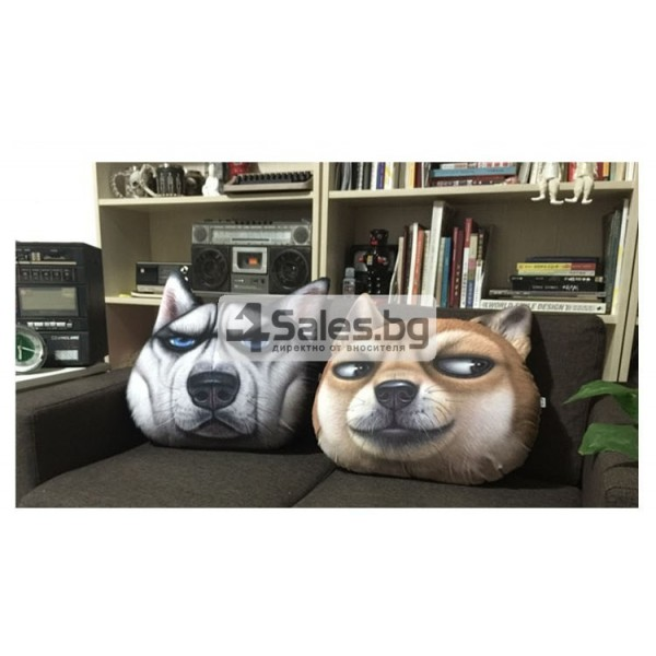 Плюшена възглавница с 3D принт на различни породи кучета 6