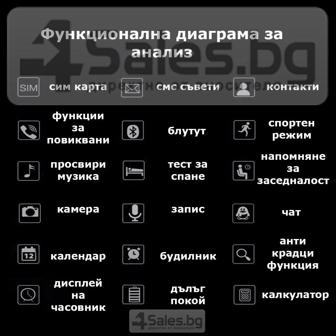 Смарт Часовник телефон с камера и сим карта Оригинален продукт dz09 на Български 60