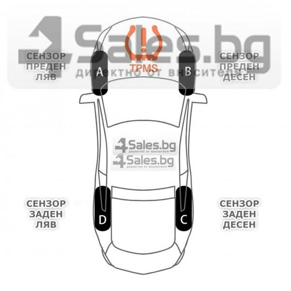 Датчик за налягане на гуми с монитор, сензор за отмерване и 4 вентила GUMI ALARM1 13