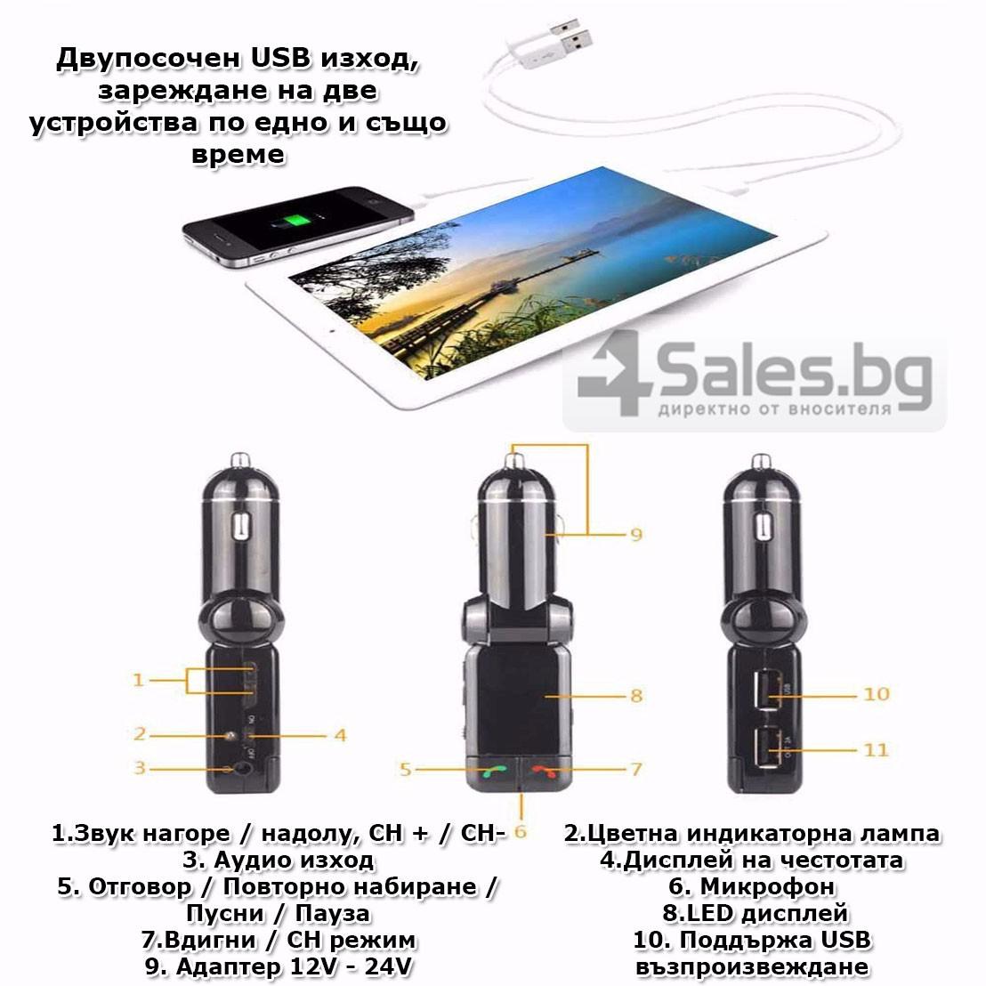 Блутут за кола (MP3player FM предавател зарядно USB и Bluetooth) HF4 19