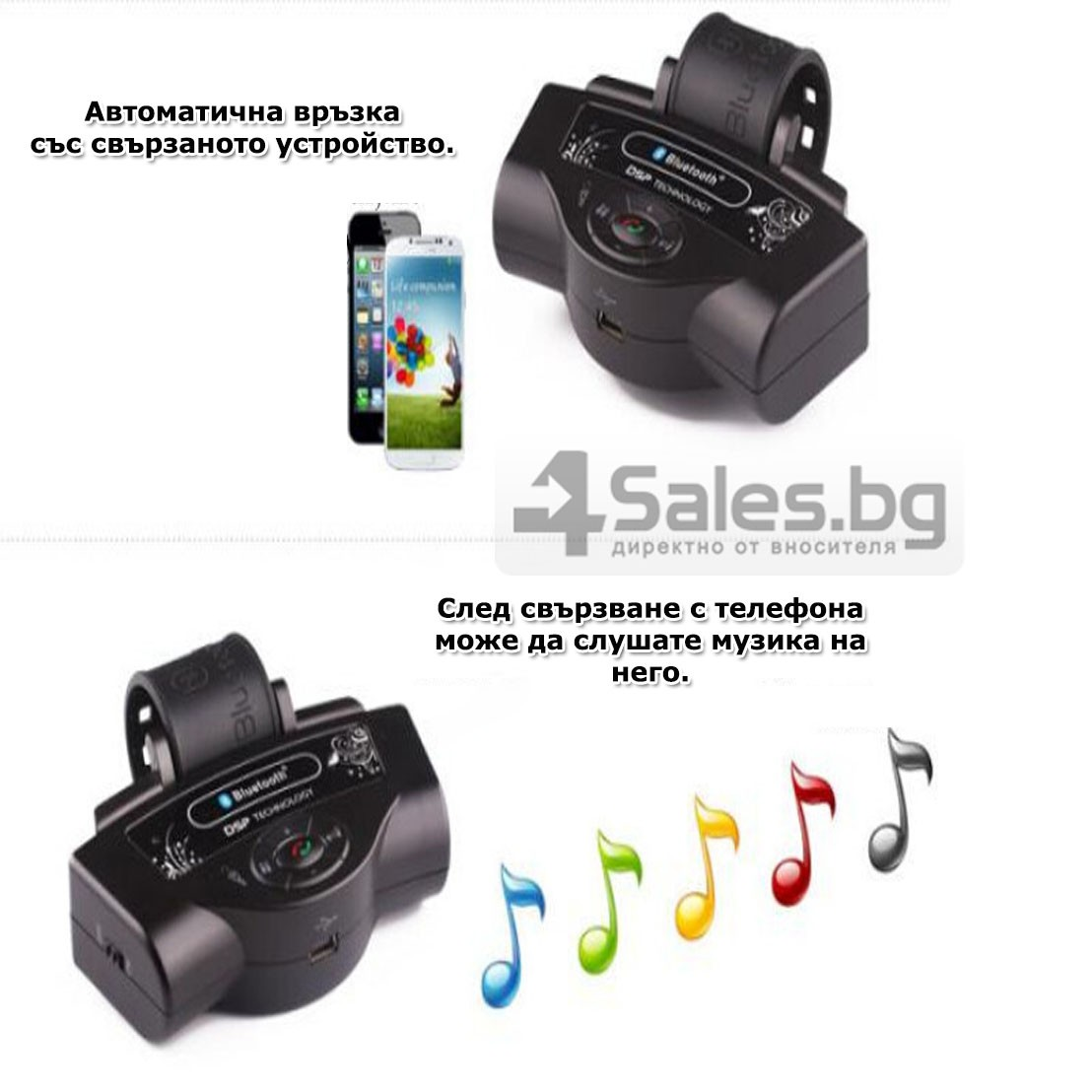 Bluetooth handsfree свободни ръце за волан на автомобил с високоговорител HF1 15