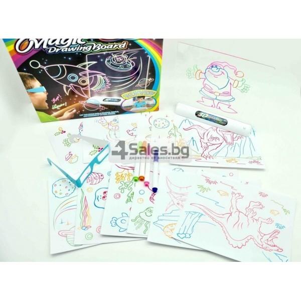 Магическа 3D дъска за рисуване със светлини и цветни маркери TV106 5