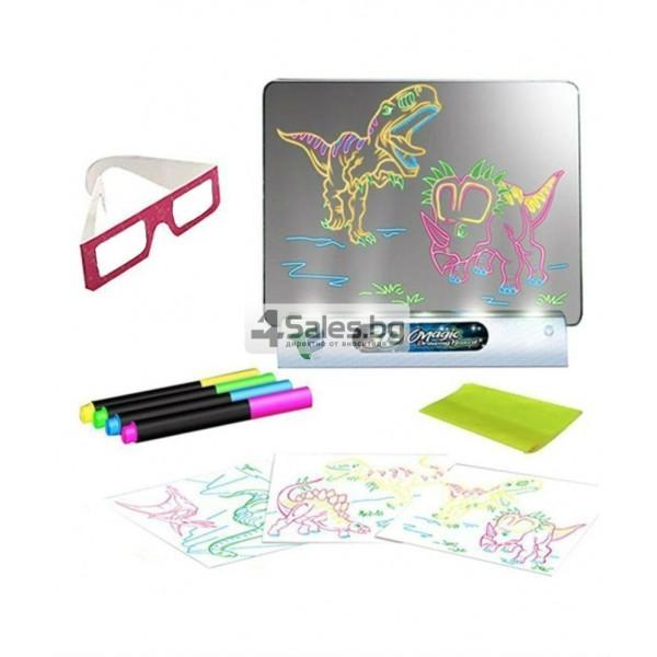 Магическа 3D дъска за рисуване със светлини и цветни маркери TV106 7