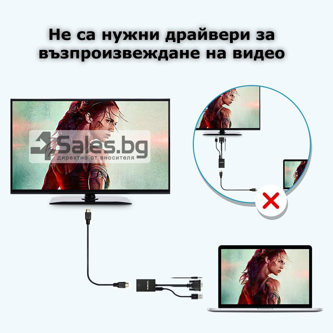 VGA към HDMI 1080P HD Audio TV AV HDTV видео кабел конвертор адаптер CA88 13