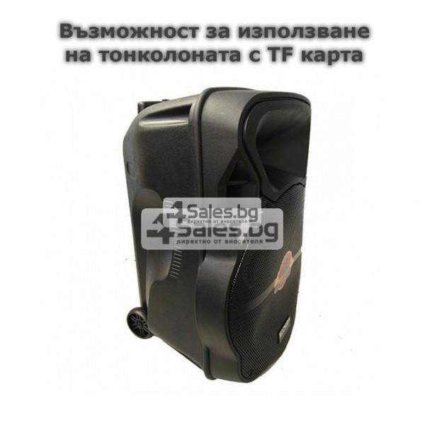 Тонколона Mozhirin SA8600-6 - 15 инча с 2 микрофона и цветомузика 10