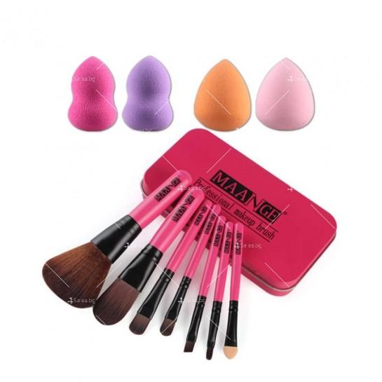 Комплект от 7 броя розови четки за грим + 4 пуфа в метална кутия HZS36