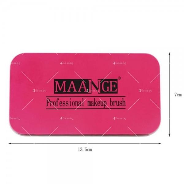 Комплект от 7 броя розови четки за грим + 4 пуфа в метална кутия HZS36 10
