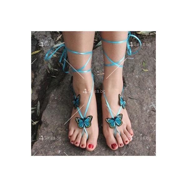 """Украшения за крака """"Сини пеперуди"""" 2"""