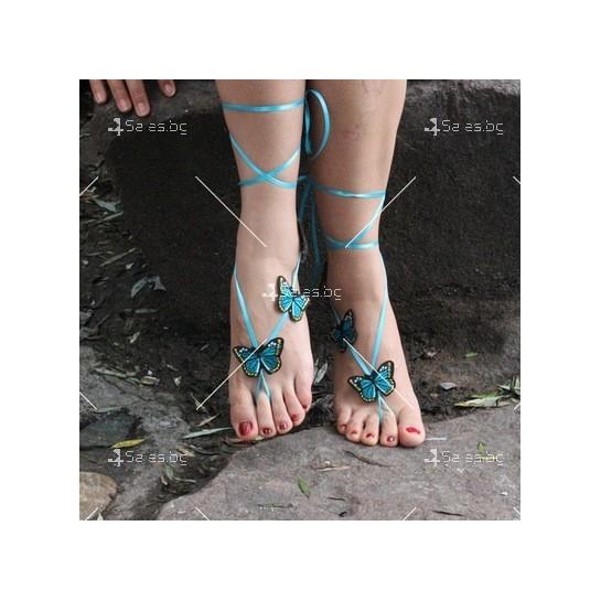 """Украшения за крака """"Сини пеперуди"""""""
