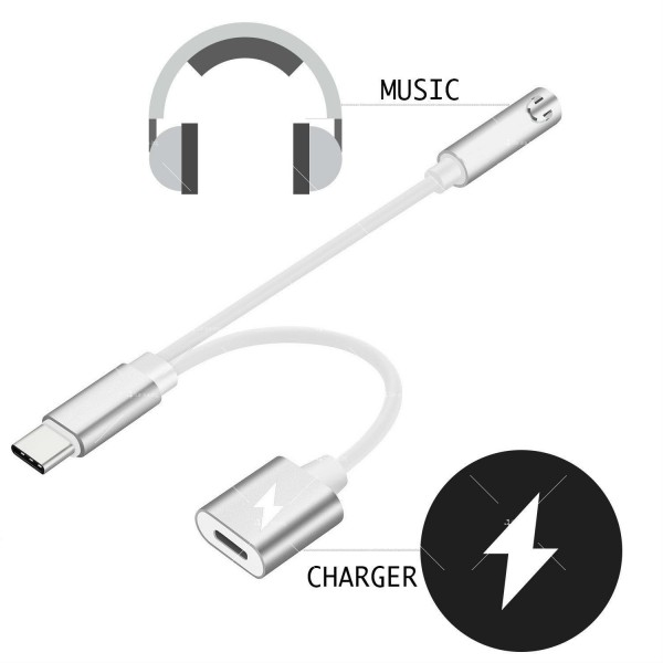 Комбиниран преходник – вход за зарядно за смартфон и 3.5 мм жак за слушалки CA107 4