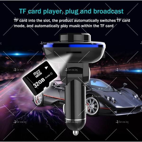 Bluetooth трансмитер за автомобил с подвижен корпус, USB изход и TF ВС28 HF26 11