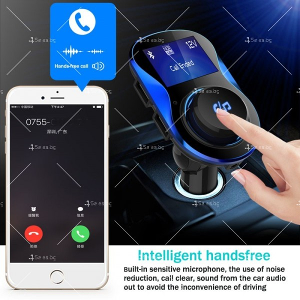 Bluetooth трансмитер за автомобил с подвижен корпус, USB изход и TF ВС28 HF26 12
